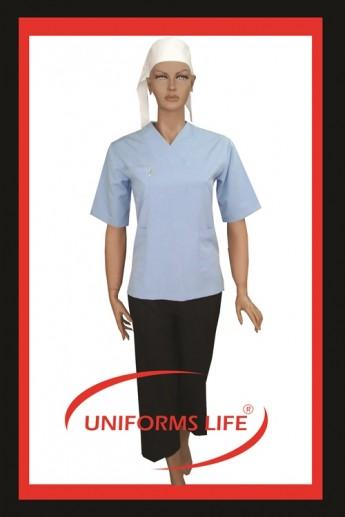 Mavi Zarf Yakalı Bayan Housekeeping Takım