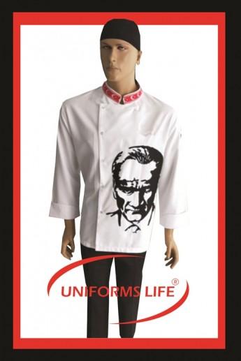 Atatürk İşlemeli Chef Ceket