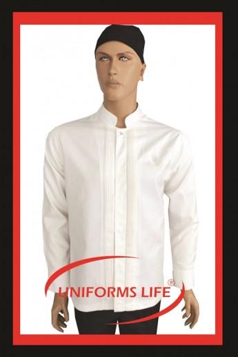 Nervürlü Beyaz Chef Ceket