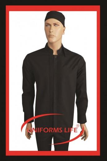 Nervürlü Siyah Chef Ceket