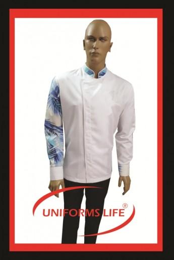 Kol Desenli Beyaz Şef Ceket