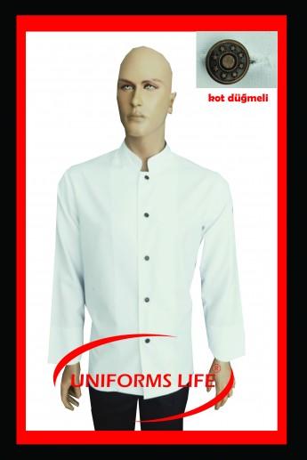 Kot Düğmeli Beyaz Aşçı Ceket